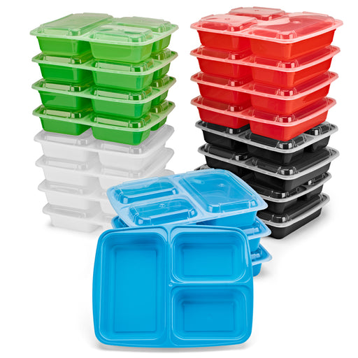 [20 Pack] 3 Compartment Meal Prep Containers