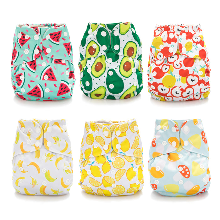 Simple Being Foodie Print Unisex Reusable Baby Cloth Diapers