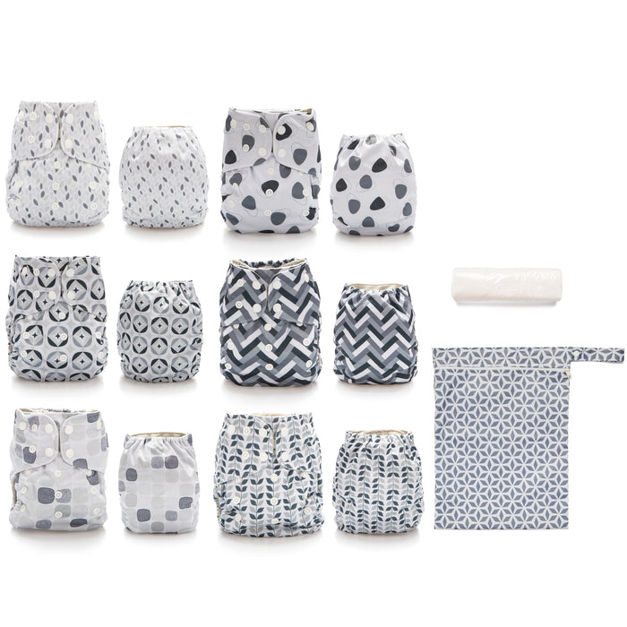 Simple Being Retro Print Unisex Reusable Baby Cloth Diapers