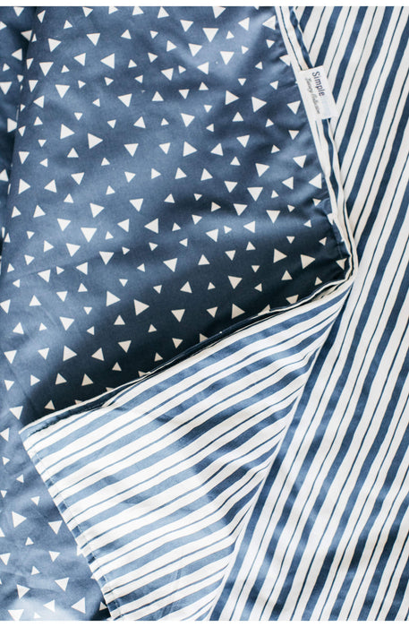 Simple Being Weighted Blanket Duvet Cover - Geometric Triangle/Stripe Blue