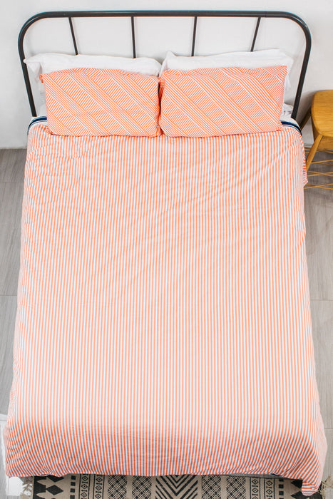Simple Being Weighted Blanket Duvet Cover - Geometric Stripe Peach