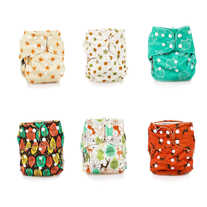 Simple Being Outdoor Forest Print Unisex Reusable Baby Cloth Diapers