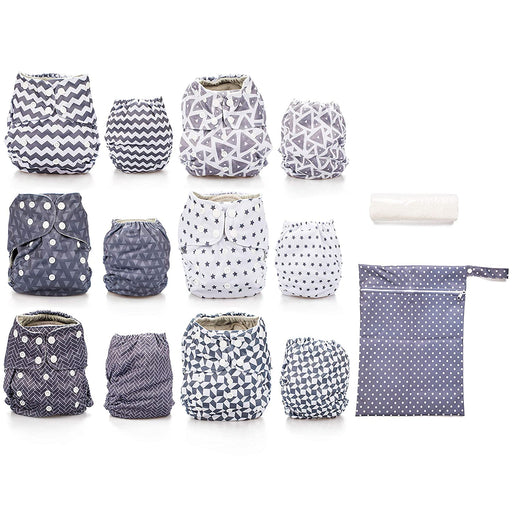Simple Being Geometric Print Unisex Reusable Baby Cloth Diapers