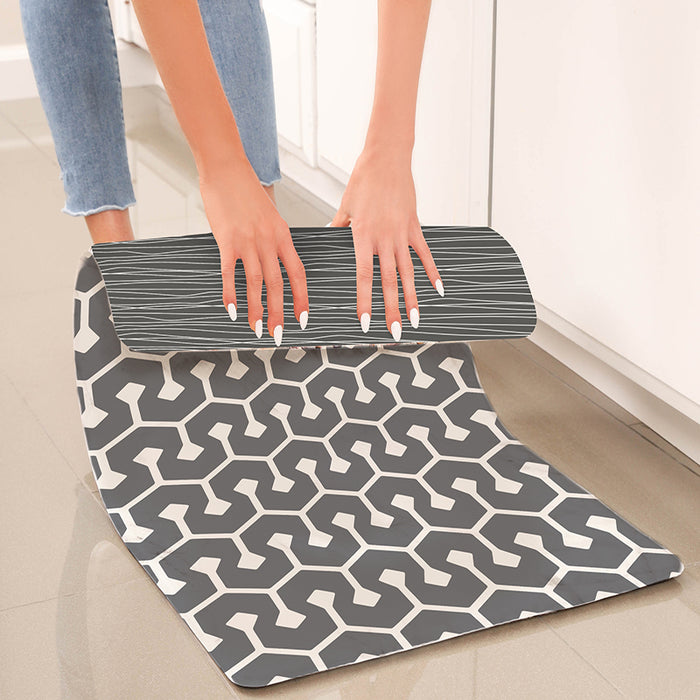 "Grey Geometric Anti-Fatigue Kitchen Floor Mat (32"" x 17.5"")-Simple Being-SimplyLife Home"