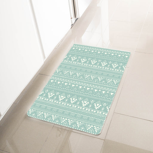 "Green Geometric Anti-Fatigue Kitchen Floor Mat (32"" x 17.5"")"