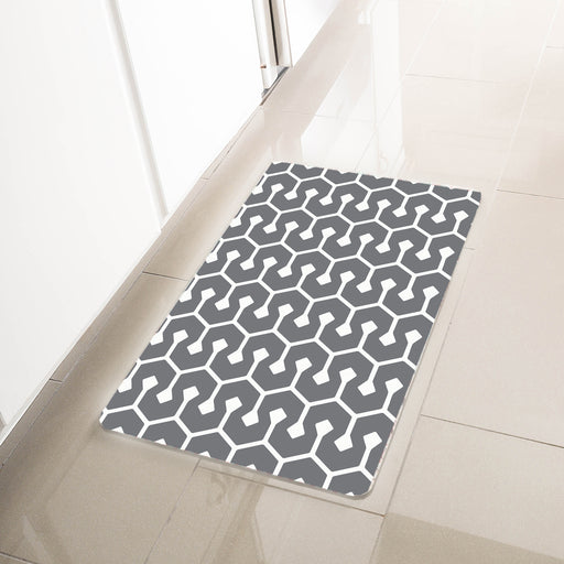 "Gray Geometric Anti-Fatigue Kitchen Floor Mat (32"" x 17.5"")"
