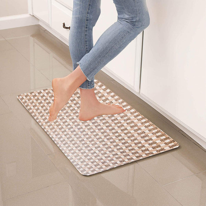 "Brown Geometric Anti-Fatigue Kitchen Floor Mat (32"" x 17.5"")-Simple Being-SimplyLife Home"
