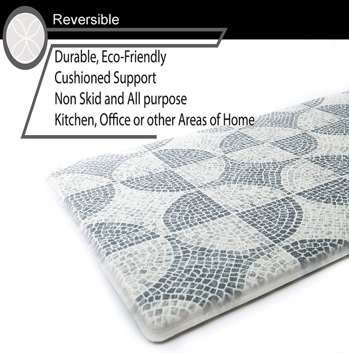 "Grey Tile Anti-Fatigue Kitchen Floor Mat (32"" x 17.5"")-Simple Being-SimplyLife Home"