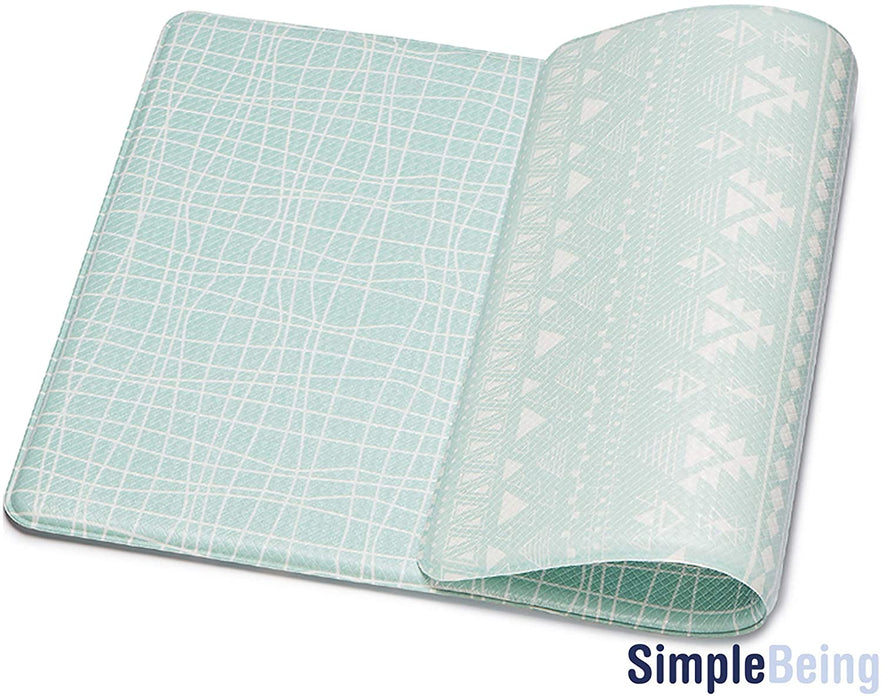 "Simple Being Green Geometric Anti-Fatigue Kitchen Floor Mat (32"" x 17.5"")"