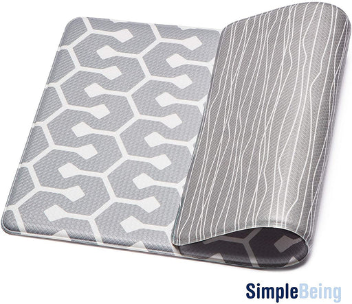 "Simple Being Grey Geometric Anti-Fatigue Kitchen Floor Mat (32"" x 17.5"")"