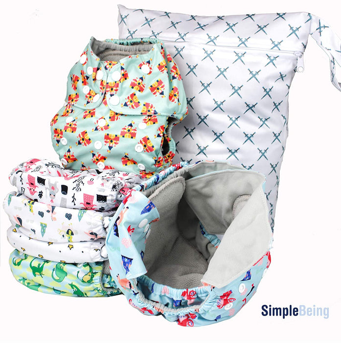 Simple Being Knights Dragons Print Unisex Reusable Baby Cloth Diapers