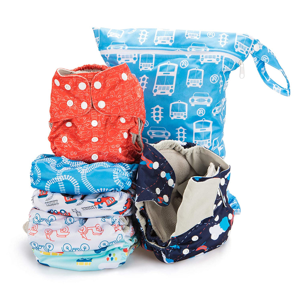 Simple Being Planes Trains Print Unisex Reusable Baby Cloth Diapers