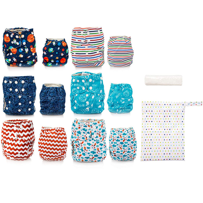 Simple Being Outer Space Print Unisex Reusable Baby Cloth Diapers
