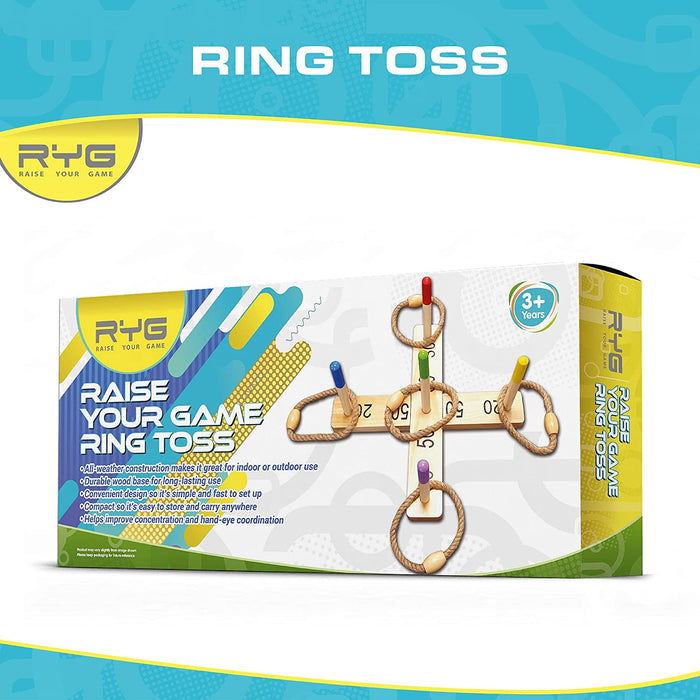Raise Your Game Wooden Ring Toss Game Set