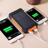 Waterproof battery for cell phones, electronic equipment by USB charging, solar charge, six different colors. Worldwide shipping