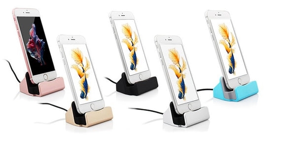 Charging stand for iPhone 5, 5S, 5SE, 6, 6S, 6 PLUS, 7, 7PLUS, 8, 8PLUS, X. Four Different Colors, Worldwide Shipping.
