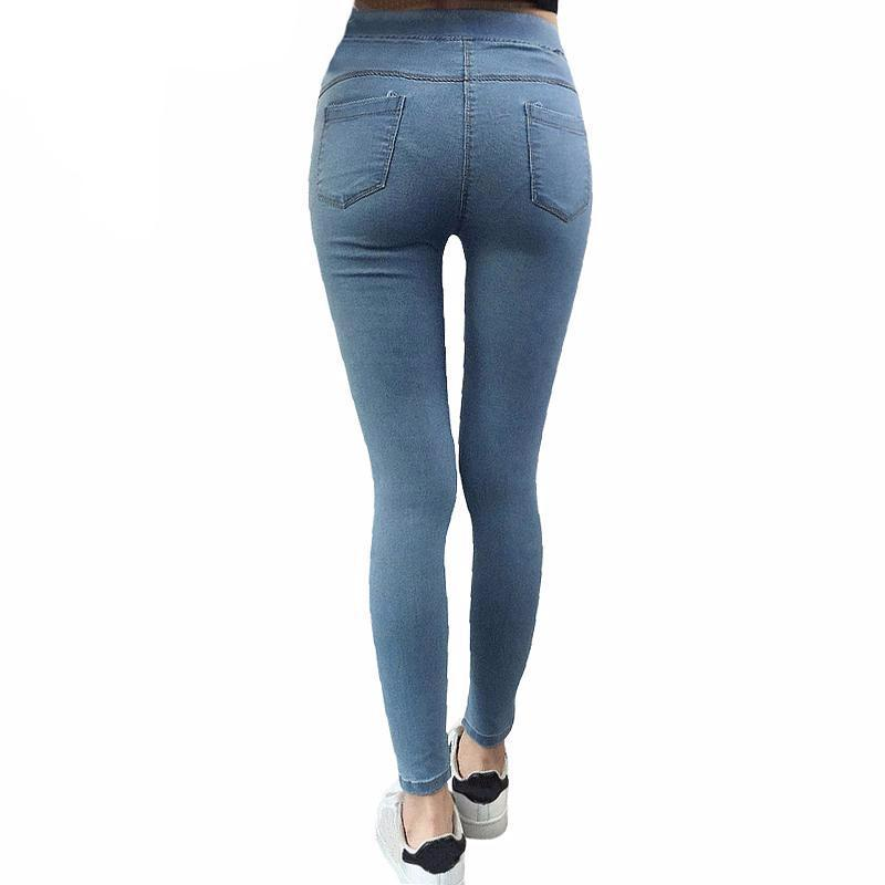 BASIC SKINNY JEANS-Light Blue-M-