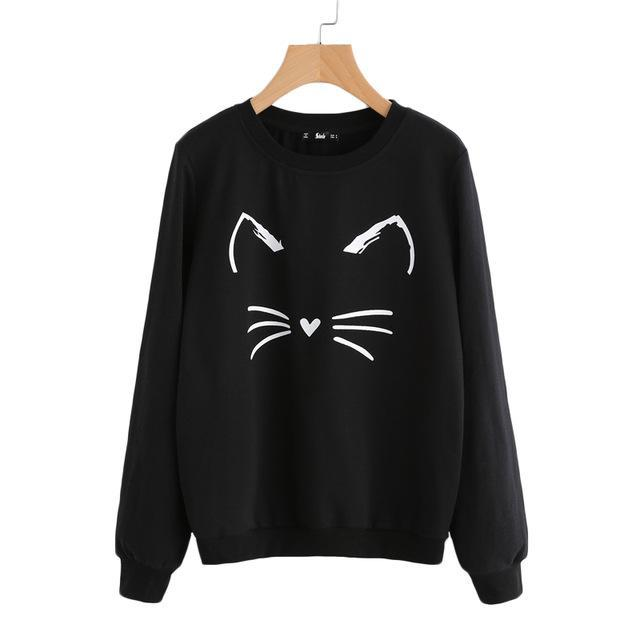 CARTOON CAT PRINT SWEATSHIRT-Black-XS-
