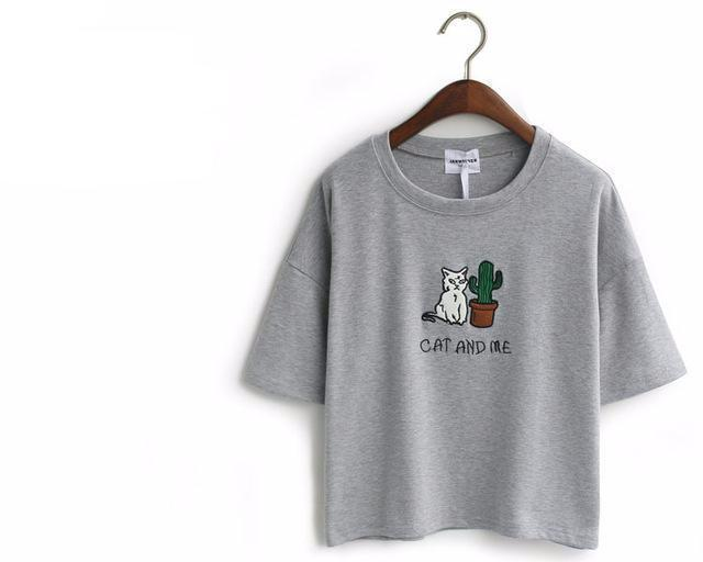 CAT AND ME AND CACTUS T-SHIRT-Gray-One Size-