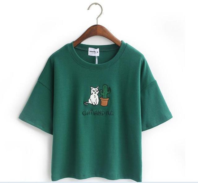 CAT AND ME AND CACTUS T-SHIRT-Green-One Size-