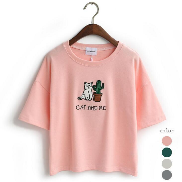 CAT AND ME AND CACTUS T-SHIRT-Pink-One Size-