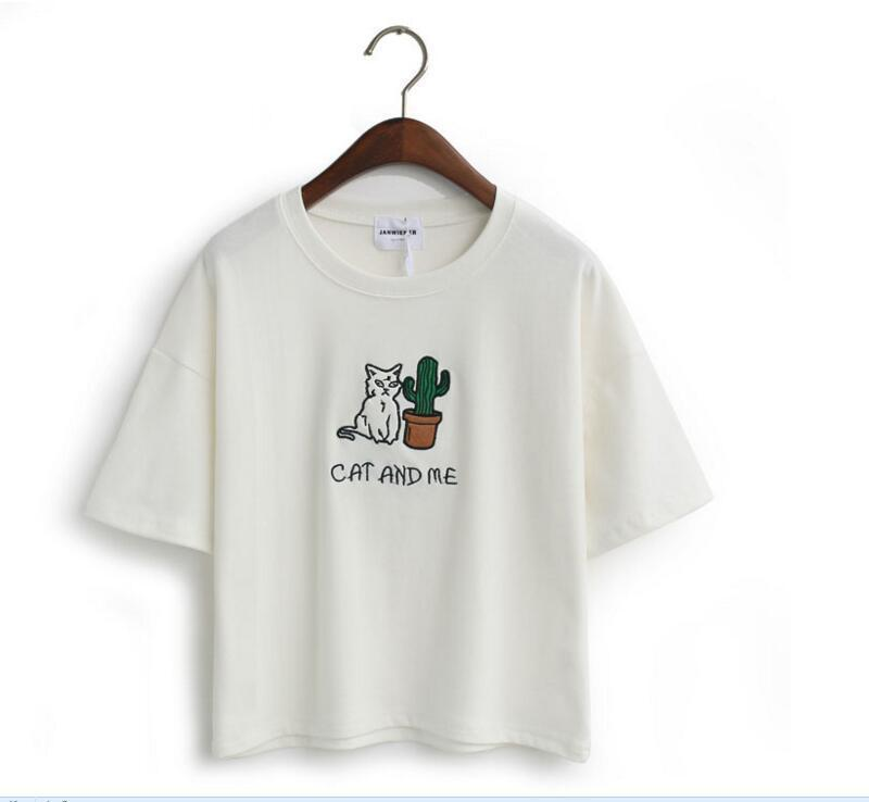 CAT AND ME AND CACTUS T-SHIRT-White-One Size-
