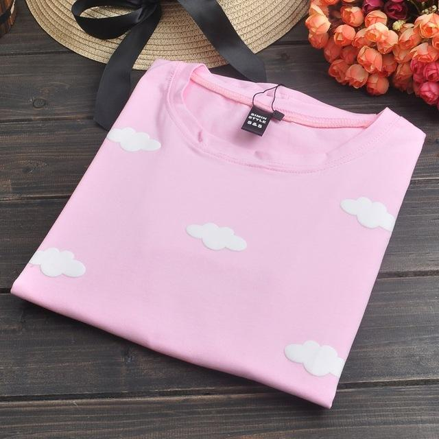 COTTON CANDY FLUFFY CLOUDS T-SHIRT-cloud Pink-One Size-