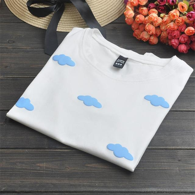 COTTON CANDY FLUFFY CLOUDS T-SHIRT-cloud White-One Size-