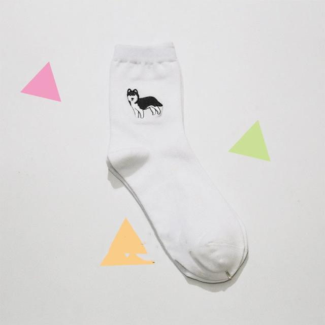 Cute Animal Husky Embroidery Socks-