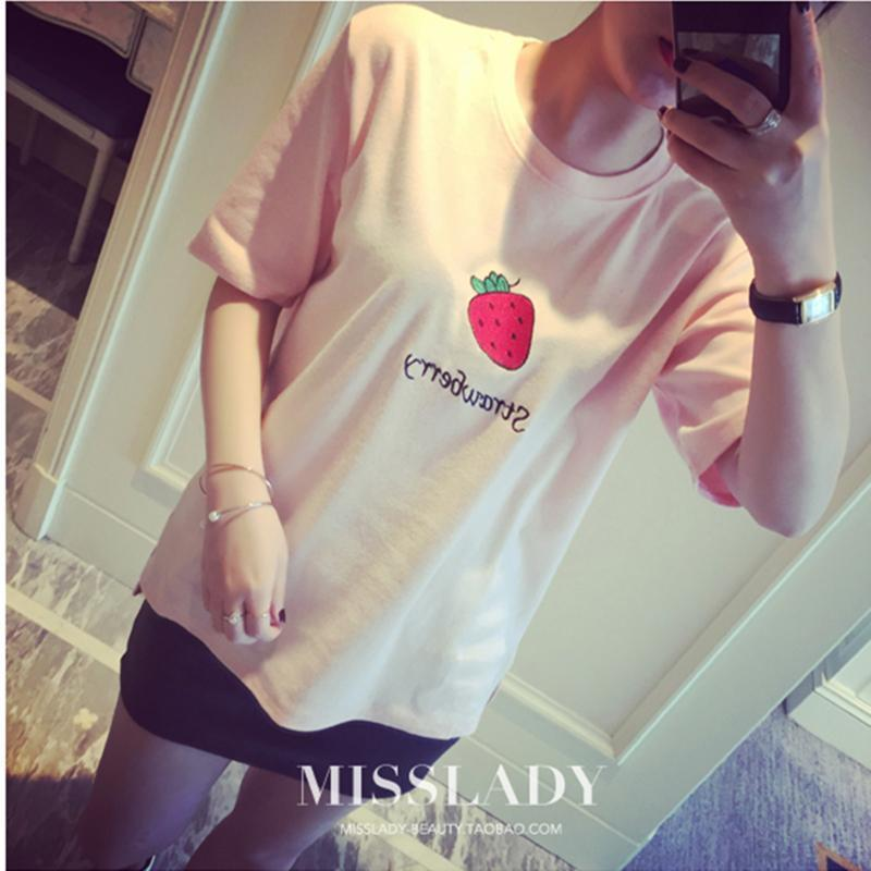 CUTE FRUITS T-SHIRT-Pink-One Size-