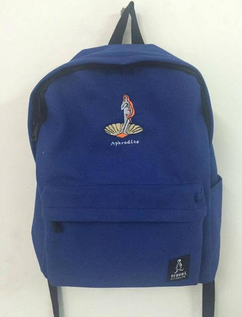 Embroidery Art Printed Backpack-BLUE-