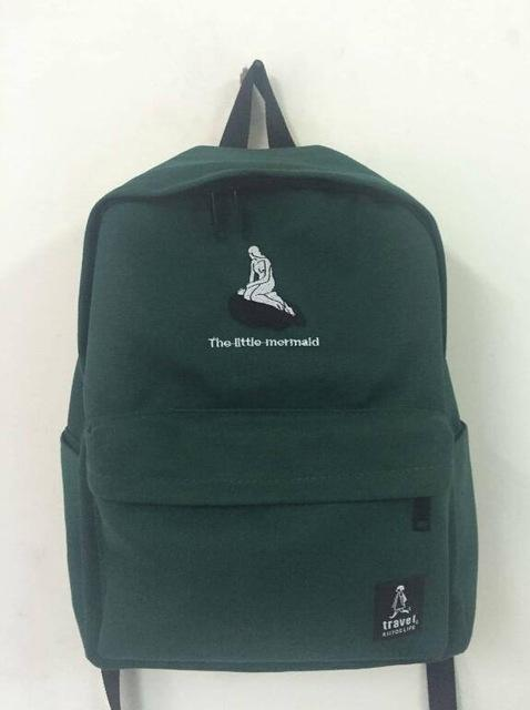 Embroidery Art Printed Backpack-GREEN-