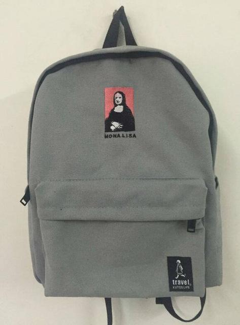 Embroidery Art Printed Backpack-GREY-