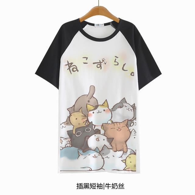 HARAJUKU NEKO CATS T-SHIRT-Black-S-