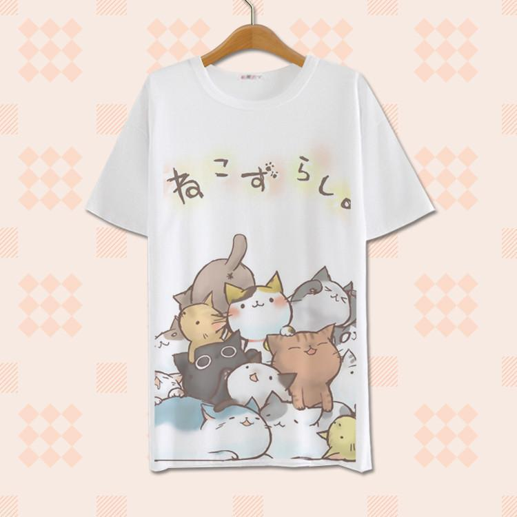 HARAJUKU NEKO CATS T-SHIRT-White-S-