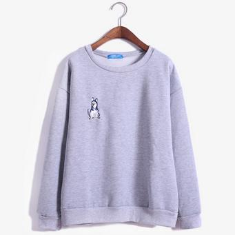HUSKY DOG SWEATSHIRT PULLOVER-Gray-One Size-