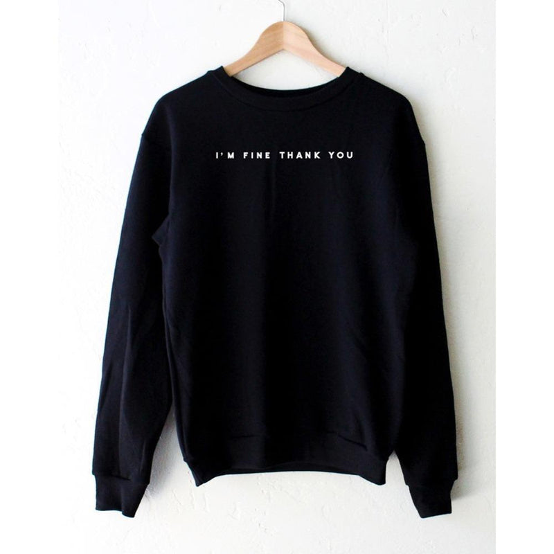 I'M FINE THANK YOU PULLOVER-Black-L-