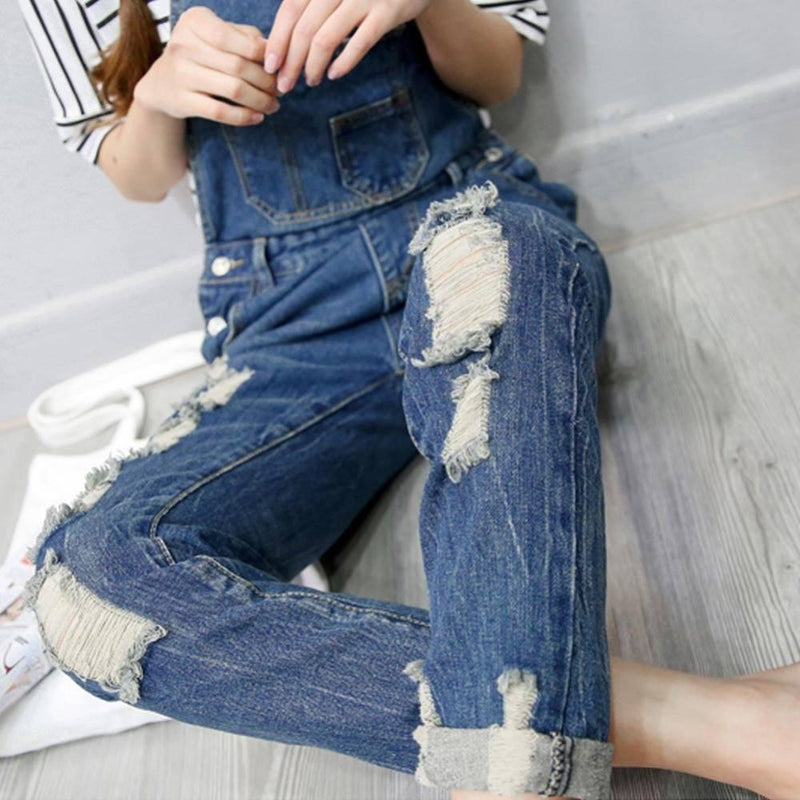 JUMPSUIT OVERALLS RIPPED SKINNY JEANS-