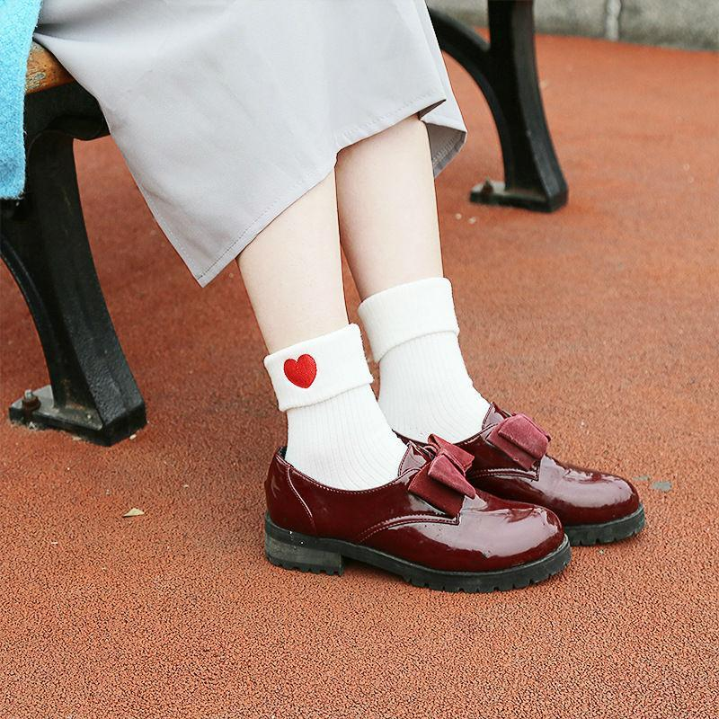 Kawaii Embroidery White Short Socks-Heart shaped-