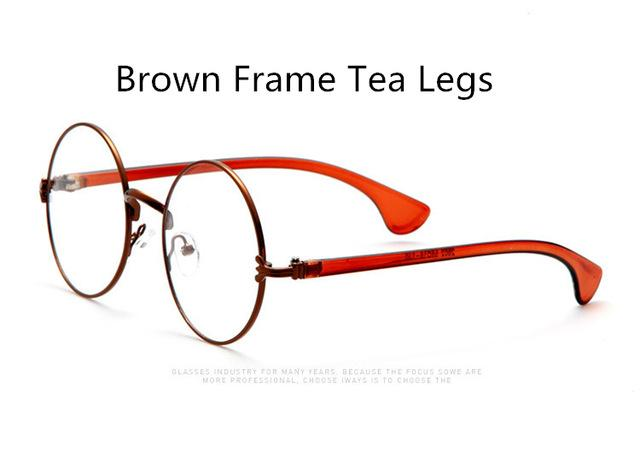 Large Round Retro Metal Frame Sun Glasses-Brown Tea-