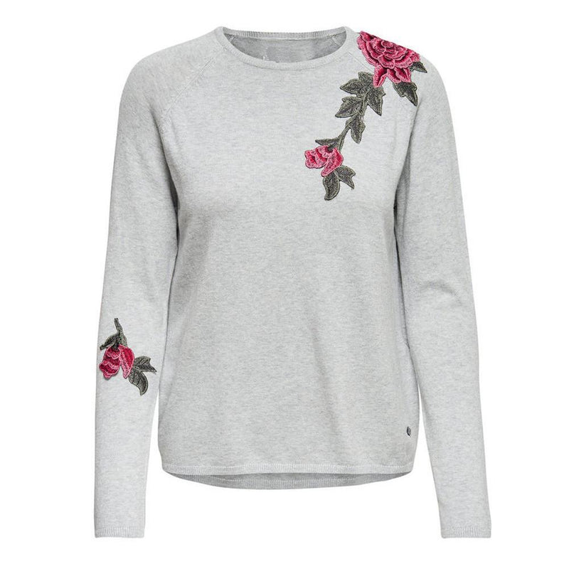 LONG SLEEVE ROSE KNITTED SWEATER-