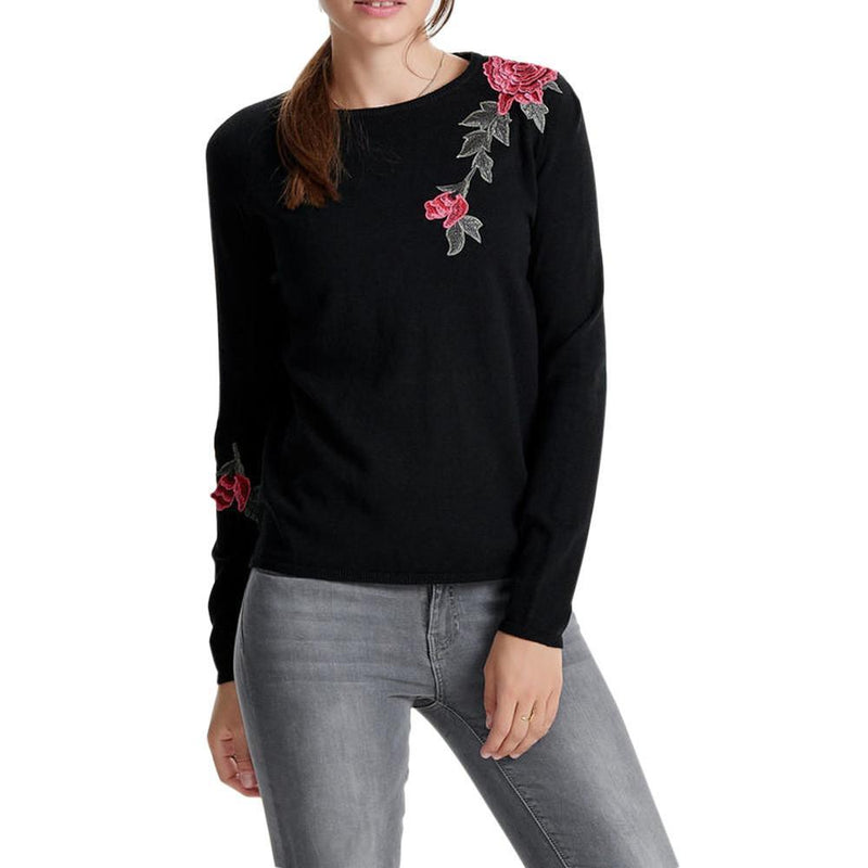 LONG SLEEVE ROSE KNITTED SWEATER-Black-XS-