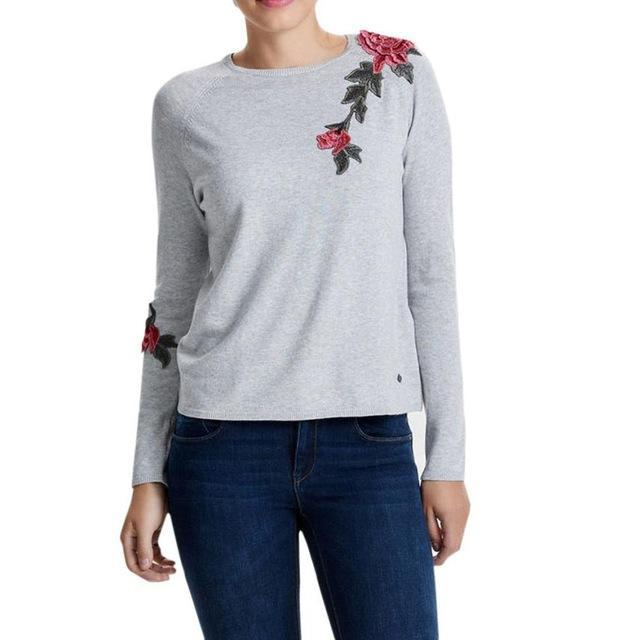LONG SLEEVE ROSE KNITTED SWEATER-Gray-XS-