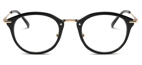 Multiple Color Frame Round Glasses-Black-