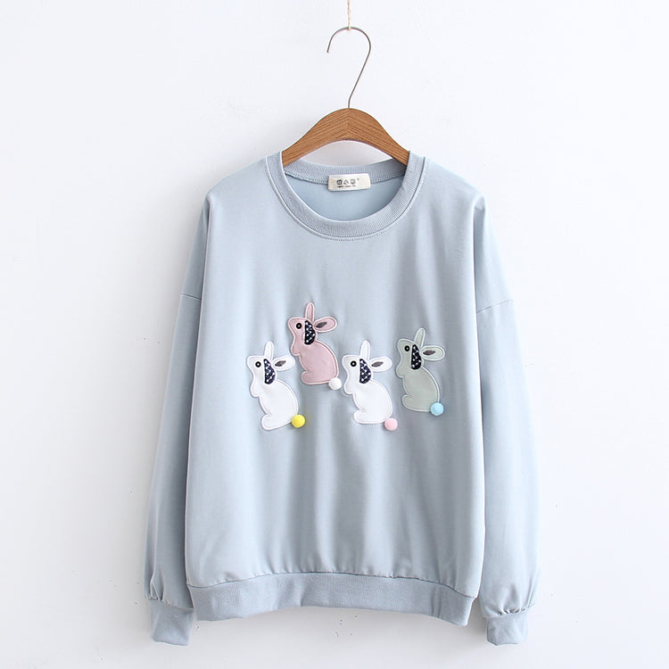 LITTLE RABBIT EMBROIDERED SWEAT SHIRT