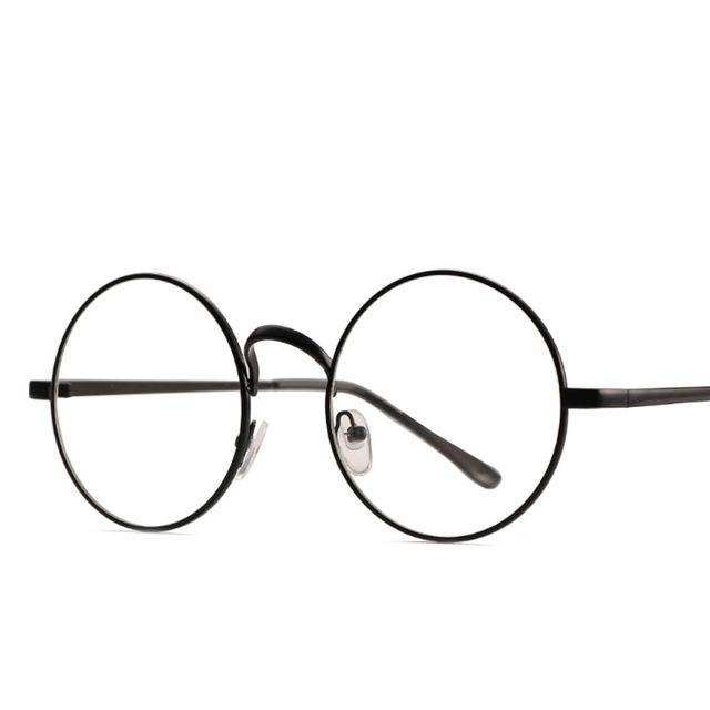 Retro Round Frame Women Glasses-Black-