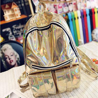 Silver Hologram Women Backpack-gold-
