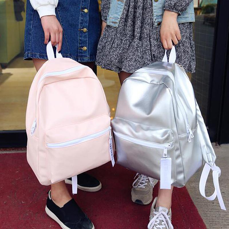 Simple & Glossy Backpacks-Pink-