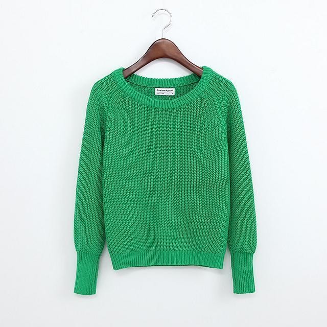 SOLID COLOR CASUAL SWEATER-cao green-M-