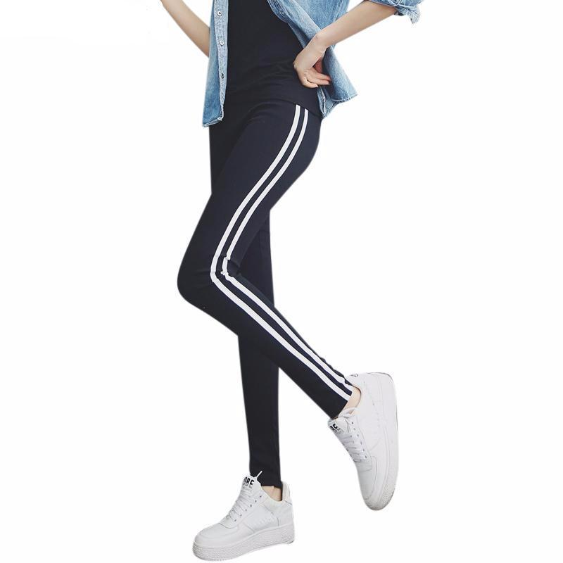WHITE SIDE SLIM ELASTIC WORKOUT LEGGINGS PANTS-Navy-M-